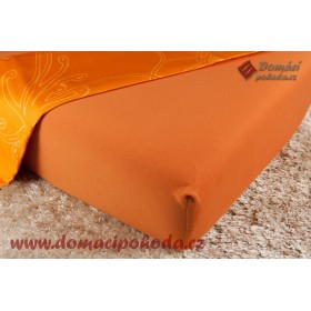 Jersey prostěradlo DP 180x200 - cihlově oranžové