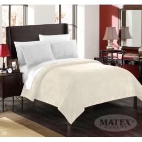 Velká mikroplyšová deka - přehoz přes postel Montana smetanová - 170x210 cm