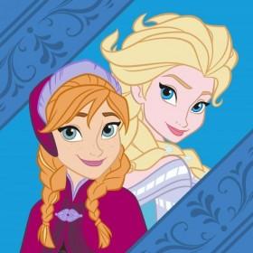 Magický froté ručníček Frozen Anna a Elsa modrý FR 06 - 30x30 cm, 100% bavlna