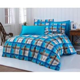 Povlečení Karo modré 140x200, 70x90 - 100% bavlna
