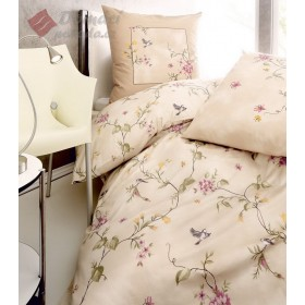 Flanelové obliečky s keprovou vazbou Birdy - krémové, 140x200, 70x90