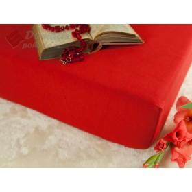 Jerseyové prostěradlo s vysokou gramáží 185 g/m2,  90x200, červené