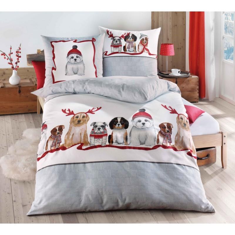 Flanelové povlečení Vánoční psi 140x200, 70x90
