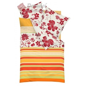 Obliečky Mako satén Happy - mandarine,  140x200, 70x90