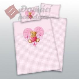 Obliečky do postýlky Teddy Pink - 100x135, 40x60