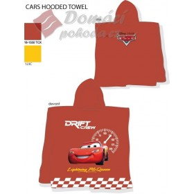 Pončo Cars Drift Crew - červené, 60x120 cm, 100% bavlna