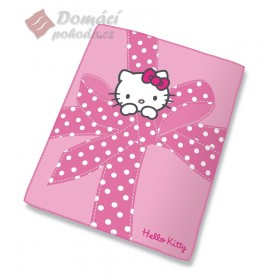 Fleece deka Hello Kitty Plumetis - 130x160cm, růžová