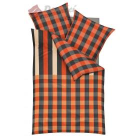Prodloužené obliečky Mako satén District červené, 140x220, 70x90