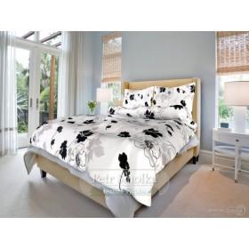 Krepové povlečení Tapeta černobílá - 140x200, 70x90