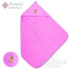 Dětská froté osuška s kapucí MAXI 100x100 cm, růžová