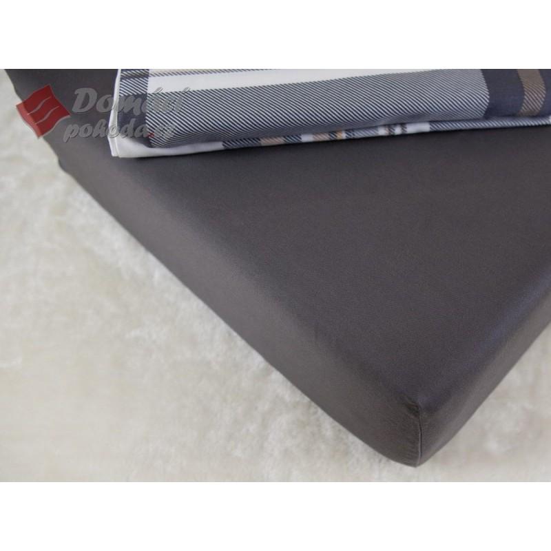 Prostěradlo saténové 160x200 s gumou - tmavě šedé