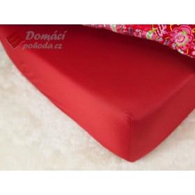 Prostěradlo saténové 180x200 s gumou - červené