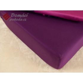 Prostěradlo saténové 220x200 s gumou - fialové