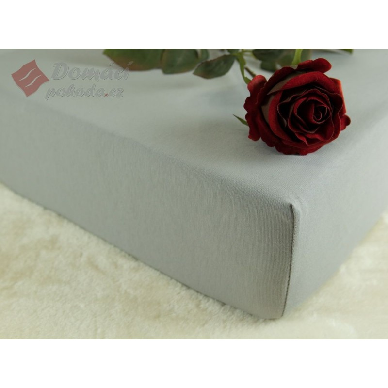 Jerseyové prostěradlo s vysokou gramáží 185 g/m2, 120x200 - šedé