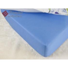 Prostěradlo saténové 90x200 s gumou - světle modré
