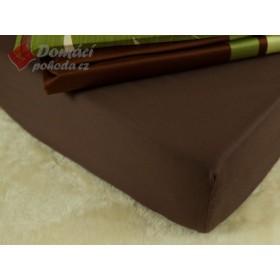 Prostěradlo saténové 120x200 s gumou - čokoládově hnědé