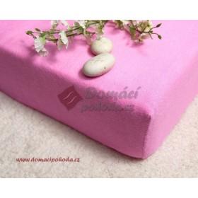 Nepropustné a prodyšné froté prostěradlo s polyuretanem 180x200 - růžové