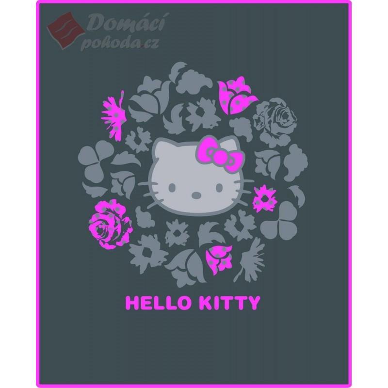 Fleece deka Hello Kitty Rosa - 130x160cm, šedá