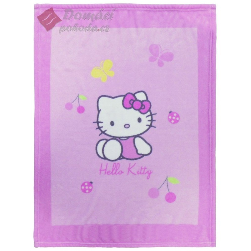 Fleece Cuddle deka Hello Kitty Coccinelle - 75x100 cm, vyšší gramáž