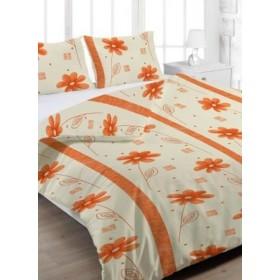 Prodloužené krepové povlečení Anežka oranžová - 140x220, 70x90