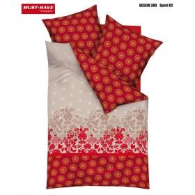 Prodloužené obliečky Mako satén Spirit červený - 140x220, 70x90
