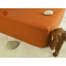 Jerseyové prostěradlo s vysokou gramáží 185 g/m2, rozměr 90x220 PRODLOUŽENÁ DÉLKA, cihlové