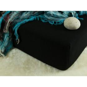 Jerseyové prostěradlo s vysokou gramáží 185 g/m2, rozměr 90x220 PRODLOUŽENÁ DÉLKA, černé