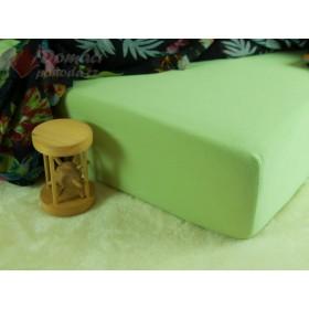 Jerseyové prostěradlo s vysokou gramáží 185 g/m2, rozměr 90x220 PRODLOUŽENÁ DÉLKA, hráškově zelené