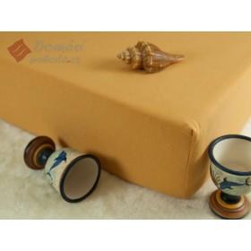 Jerseyové prostěradlo s vysokou gramáží 185 g/m2, rozměr 90x220 PRODLOUŽENÁ DÉLKA, karamelové