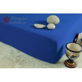 Jerseyové prostěradlo s vysokou gramáží 185 g/m2, rozměr 90x220 PRODLOUŽENÁ DÉLKA, královsky modrá