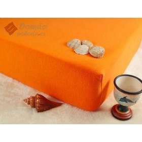 Jerseyové prostěradlo s vysokou gramáží 185 g/m2, rozměr 90x220 PRODLOUŽENÁ DÉLKA, pomerančové