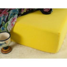 Jerseyové prostěradlo s vysokou gramáží 185 g/m2, rozměr 90x220 PRODLOUŽENÁ DÉLKA, žluté