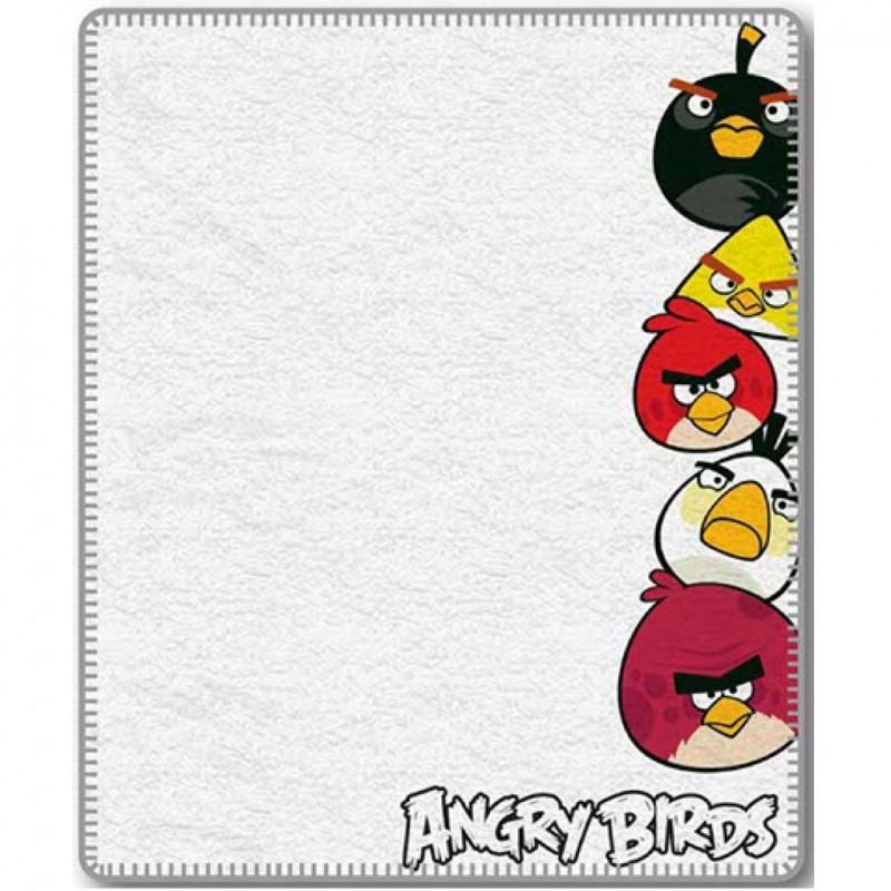 Fleecová deka Angry Birds 040 - 120x150 cm, bílá
