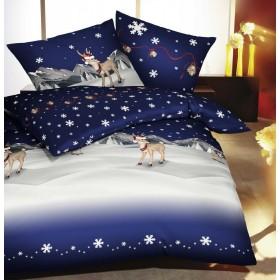 Flanelové obliečky Kouzlo Vánoc modré 140x200, 70x90