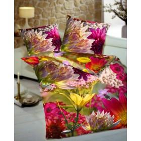 Makosaténové povlečení Wildflower rosa - 140x200, 70x90