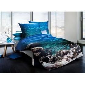 Makosaténové obliečky Riviera tyrkys 140x200, 70x90