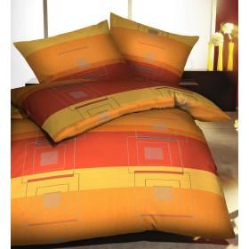 Makosaténové povlečení Quartetto oranžové,  140x200, 70x90