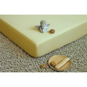 Jersey nepropustné a prodyšné prostěradlo s polyuretanem 70x160 - světle žluté