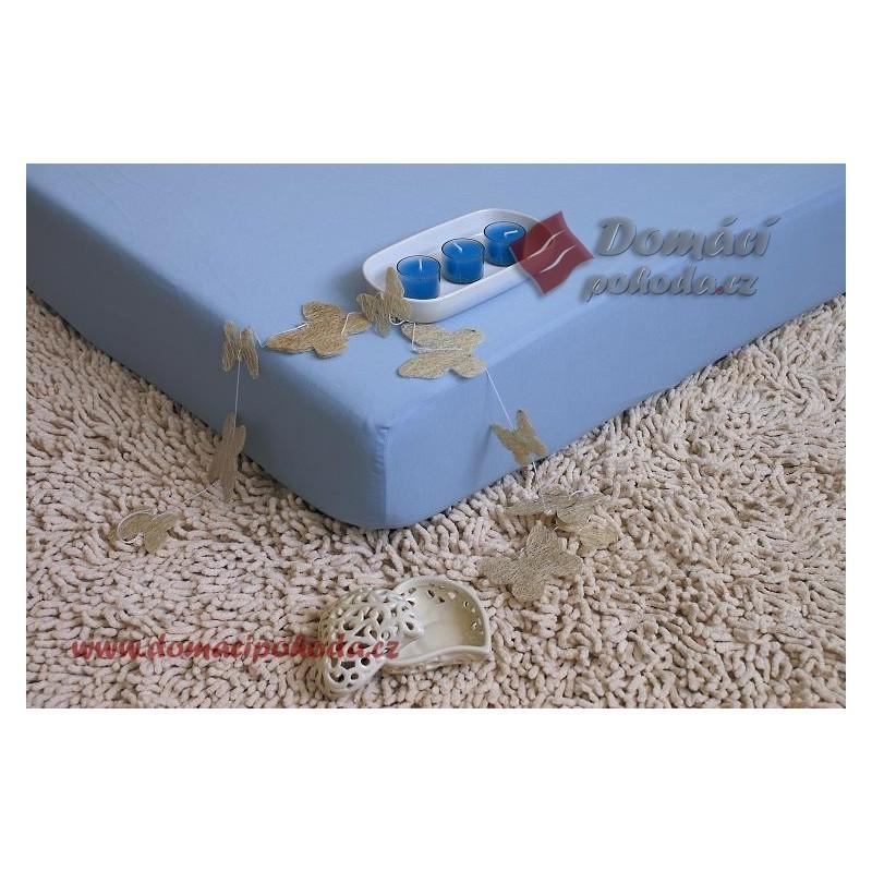 Jersey nepropustné a prodyšné prostěradlo s polyuretanem 70x160 - světle modré