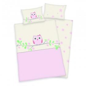 Obliečky do postýlky Sovička růžová - 100x135, 40x60, 100% bavlna