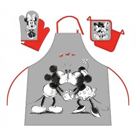 Mickey a Minnie - Kuchyňský set (zástěra, chňapka, podložka) - 100% bavlna