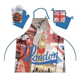 London - Kuchyňský set (zástěra, chňapka, podložka) - 100% bavlna