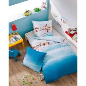 Bavlněné obliečky Pyjamaparty modré, 140x200, 70x90