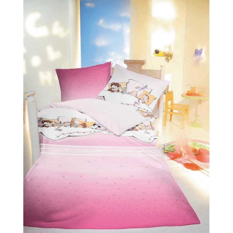Bavlněné obliečky Pyjamaparty růžové, 140x200, 70x90