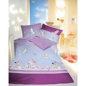 Bavlněné povlečení do malé postýlky Miss Butterfly lila, 100x135, 40x60