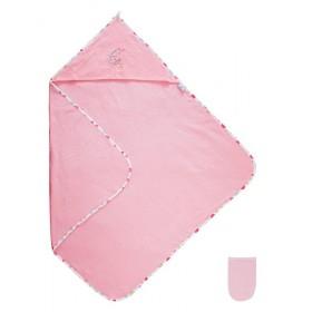 Dětská froté osuška s kapucí 85x85 cm, růžová