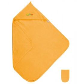 Dětská froté osuška s kapucí 85x85 cm, sytě žlutá