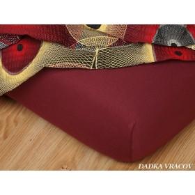 Jerseyové prostěradlo s vysokou gramáží 185 g/m2, rozměr 90x220 PRODLOUŽENÉ, bordó