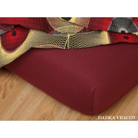 Jerseyové bordó prostěradlo s vysokou gramáží 190 g/m2, rozměr 180x200
