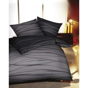 Makosaténové povlečení Motion šedé tmavé 140x200, 70x90